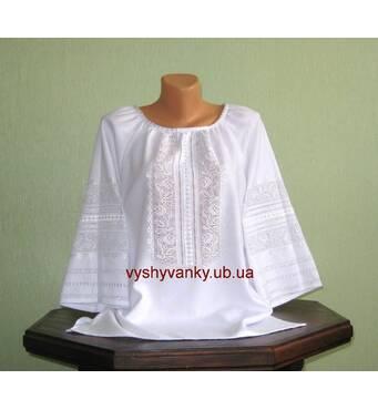 Вишукана жіноча сорочка білим по білому ручної роботи
