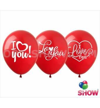 """Воздушные шарики I love you 12"""" (30 см)  ТМ Show"""