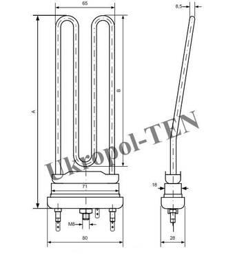 Электронагреватель трубчатый для стиральных машин 2810-736