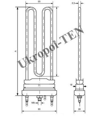 Электронагреватель трубчатый для стиральных машин 4401-256