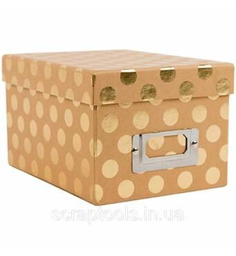 Коробка для хранения DCWV  Kraft W/Gold Foil Dots