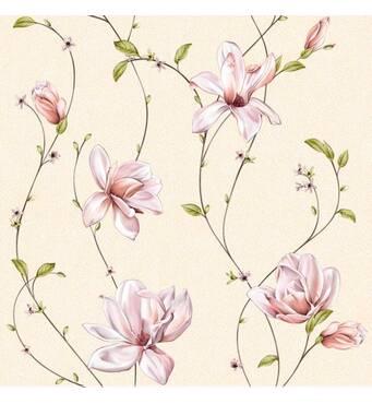 Обои бумажные Континент Мару бежевый фон светлые цветы 1289