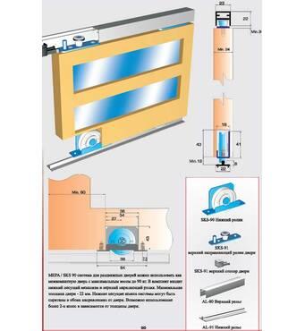 Раздвижная система для шкафов и межкомнатных дверей нижнего опирания SKS90