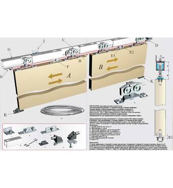 Раздвижная, синхронная система для шкафов и межкомнатных дверей верхнего опирания HSK80
