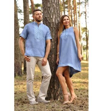Стильная мужская рубашка с коротким рукавом и женское вышитое платье оригинального кроя Модель: М16к-273 и П03-273