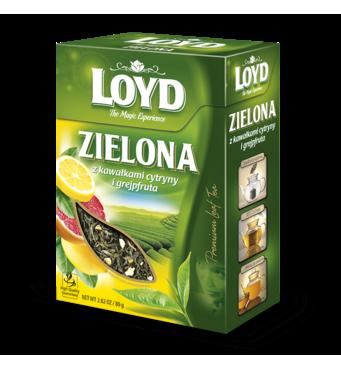 Чай листової Loyd Zielona, лимон і грейпфрут, 80г