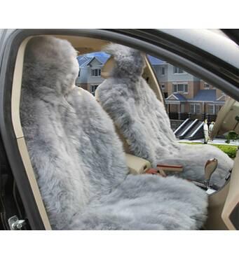 Авточохол з натуральної овчини (сірий, ворс 5-7 см)