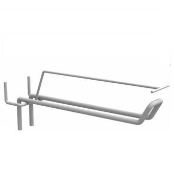 Крючок торговый двойной с ценникодержателем для перфорированной стенки Хром