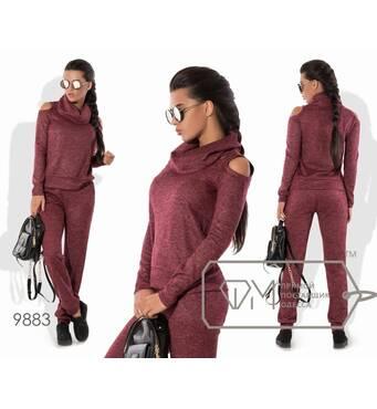 Костюм в спортивному стилі з Ангори софтвер з напиленням - прямий светр з воротником-хомут і вирізами на плечах плюс штани-банани 9883