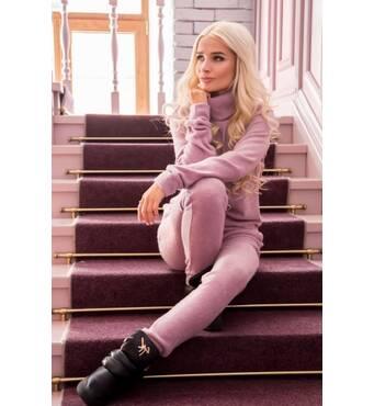 Комфортный ангоровый спортивный костюм (розовый)