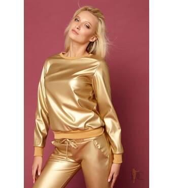 Эффектный костюмчик из дорогой экокожи (золото)
