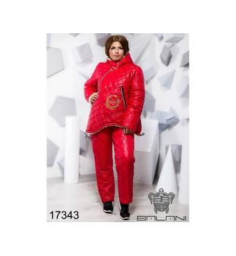 Теплий синтепоновый костюм   (червоний) - 17343