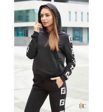 Модный спортивный костюм Fendi с лампасами (чёрно-белый)