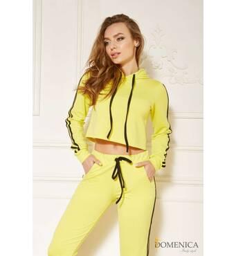 Яркий спортивный костюм с контрастной отделкой (жёлтый )