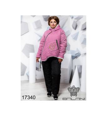 Теплий синтепоновый костюм   (верх рожевий/брюки чорні) - 17340