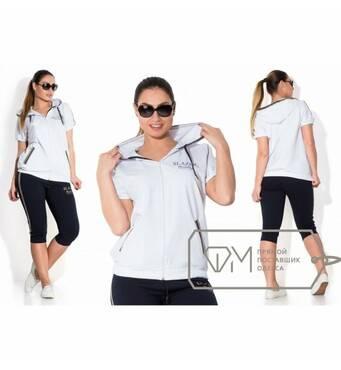 Спорткостюм из двунитки Slazer - олимпийка с капюшоном и двойной окантовкой плюс капри с лампасами X3204