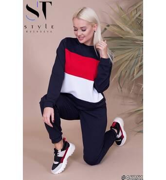Спортивний костюм жіночий 46251(темно-синий/красный/белый)
