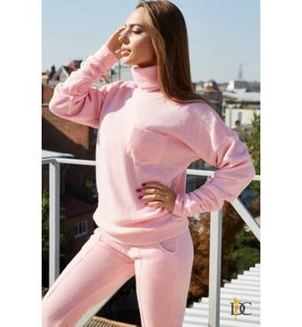 Милий і теплий спортивний костюм з високим коміром (рожевий)