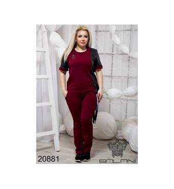 Ассиметричный спортивний костюм   (бордо) - 20881