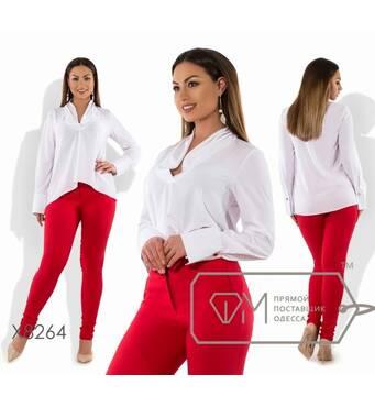 SALE Блуза-трапеция из креп-шёлка с длинными рукавами на манжетах, асимметричным подолом и V-вырезом с мягким воротником X8264