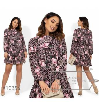 Коротка легка сукня з квітковим принтом крою трапеція, круглим вирізом, рукавами на гумка і спідницею з воланом X10356