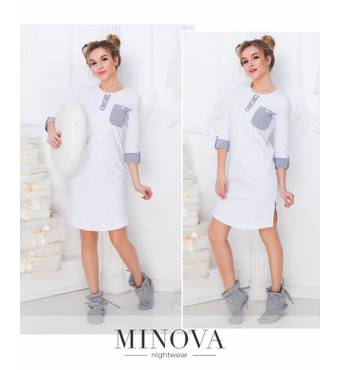 Нічна сорочка №902н-білий-серый