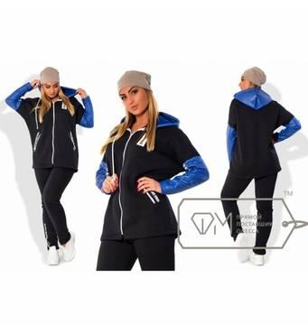 Спорткостюм з трехнитки - олімпійка з рукавами і капюшоном із стьобаної екошкіри і прямі штани X5000