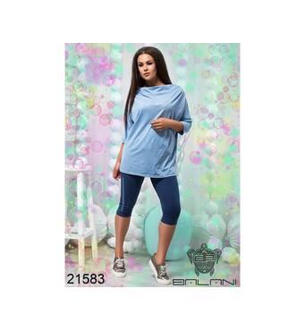 Стильний спортивний костюм з бриджами   (блакитний   синій) - 21583
