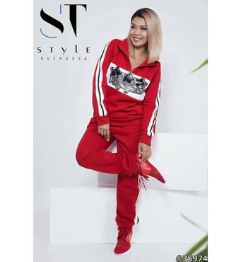 Спортивний костюм 35974 (червоний)