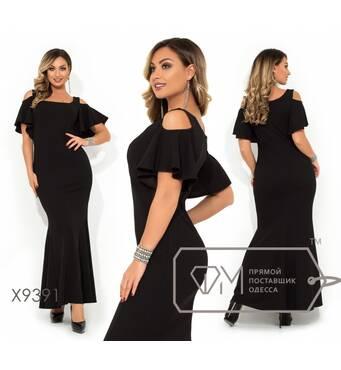 SALE Вечірнє сукня-русалка з розрізами на плечах і короткими рукавами-волан X9391