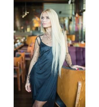 Ніжне сукня-двійка з перлинами (чорний)