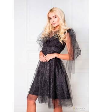 Интересное и оригинальное платье из фатина (темно-серый)