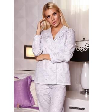 Пижама с нежным цветочным принтом (серый)