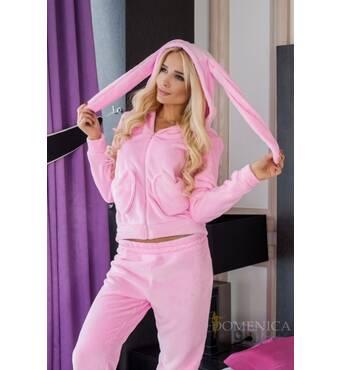Затишний махровий домашній костюм з капюшоном Зайчик (рожевий)