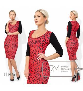 Платье-футляр миди из креп дайвинга с леопардовым принтом, глубоким декольте и рукавами 3/4 11986