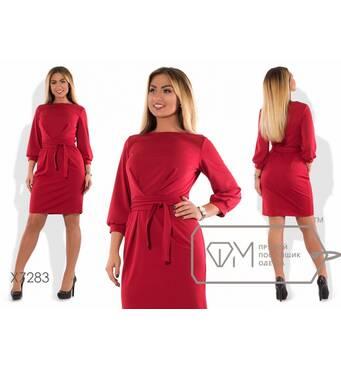 SALE Платье-футляр мини приталенное из трикотажа мелисса с рукавами 3/4 на манжетах, фигурными вытачками на талии и поясом X7283