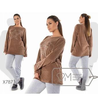 Костюм из велюра - прямая туника с длинными рукавами, круглым вырезом и сверкающим принтом Звёзды плюс приталенные штаны X7871