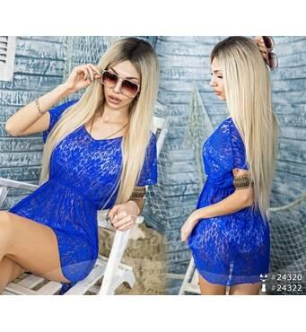 Пляжное платье - парео 24322  (электрик)
