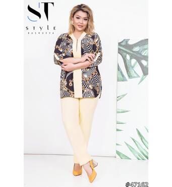 Костюм  47162 (блуза брюки) (жовтий/принт)