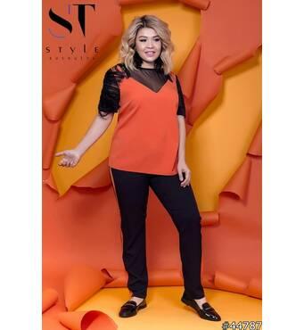 Костюм 44787 (кофта брюки) (помаранчевий/чорний)