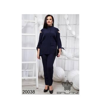 Стильный брючный костюм  (темно-синий) - 20038