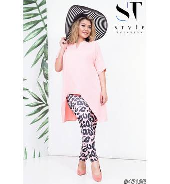 Костюм 47105 (Блуза брюки) (рожевий/принт лео)