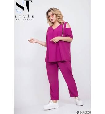 Костюм 49953 (блуза брюки) (фуксія)