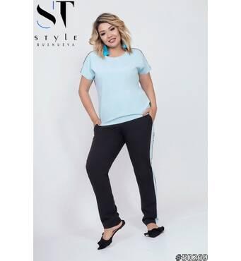 Костюм 50269 (кофта брюки) (блакитний/чорний)