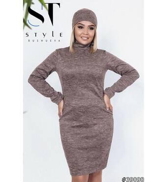 Комплект двійка 39098 (сукня пов'язка-хомут) (коричневий)