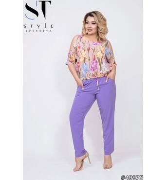 Костюм 49975 (блуза брюки) (пудра/бузок)