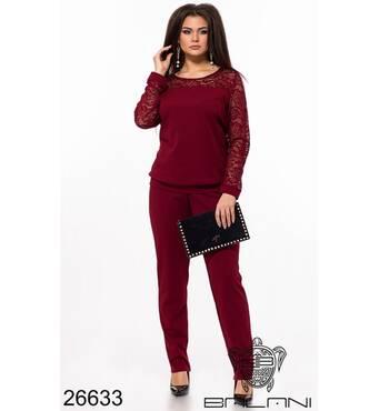 Брючный костюм  (бордовый) - 26633