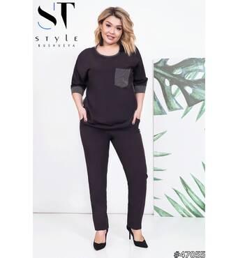 Костюм  47055 (блуза брюки) (чорний)