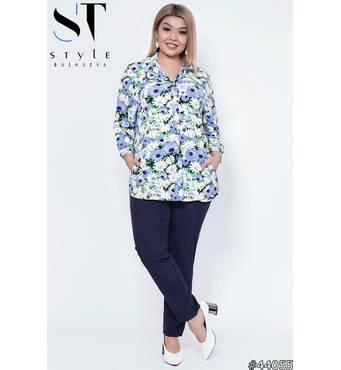 Костюм 44055 (блуза брюки) (белый/голубой/темно-синий)