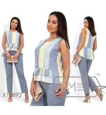 Брючный костюм из льна, блуза с круглым вырезом и двойной оборкой по лицевой стороне, брюки средней посадки, на резинке X10892